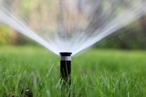 Automatic sprinkler keeping lawn beautiful and healthy